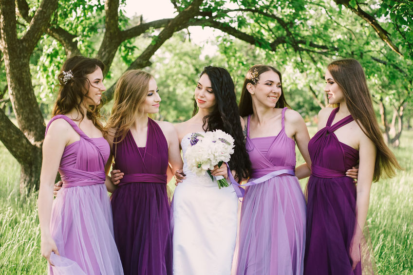 Bridesmaids in lovely dresses